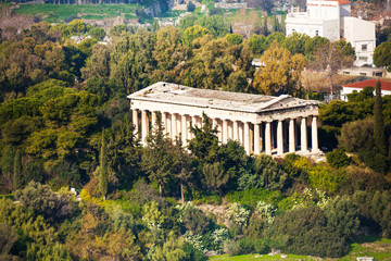 Temple of Hephaestus view from top in Athens