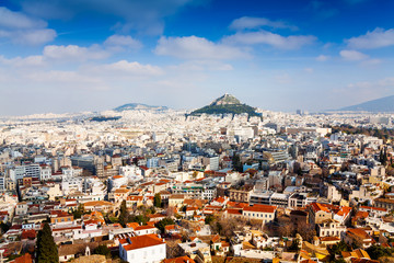 Spoed Fotobehang Athene Panorama of Athens, Greece