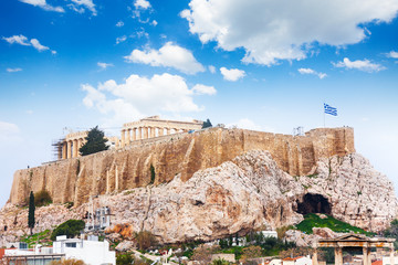 Acropolis of Athens from downtown in Greece