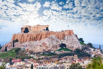 Autocollant pour porte Athènes Parthenon temple and Acropolis view from downtown