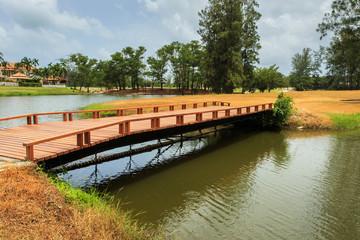 Wood bridge at the lake