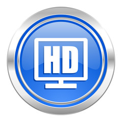 hd display icon, blue button