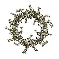 Black olives wreath on white background.