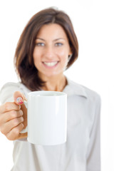 smiling casual pretty woman offered white cup of coffee or tea t