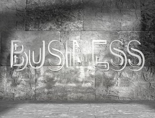 business art text in concrete room