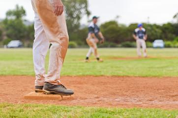 Baseball player on a base