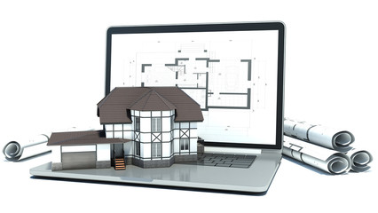 Laptop and drawings with house project. 3d