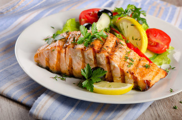 Grilled Salmon with  salad.