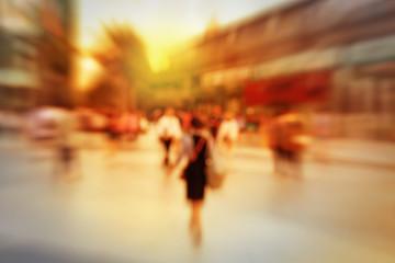 Blur background of pedestrian in city.
