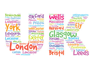 UK Hand drawn letters with cities names words cloud, vector
