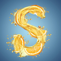 "Water splashes and oranges slice letter ""S"""