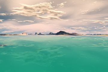 3D rendered fantasy alien planet. Sea and island