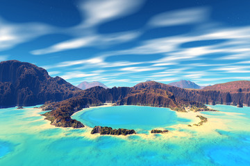 3D rendered fantasy alien planet. Rocks,sea and atoll