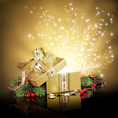 Christmas surprise gift box or present, exploding with glitters
