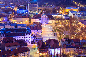 View of Congress square and Star park in Ljubljana at dusk