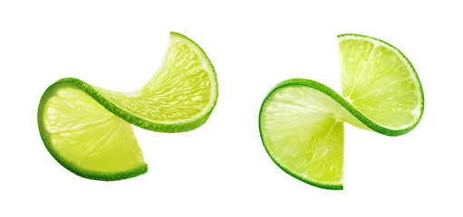 LIme slice twist isolated on white background