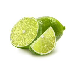 Whole, half and quarter piece lime isolated on white