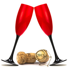Sektgläser mit Champagnerkorken 2015