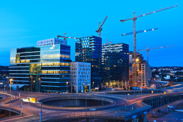 Oslo construction site by night
