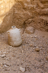 Ancient Amphora at excavation site