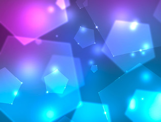 Background with blue and purple pentagons. 4k resolution.