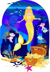 Beautiful mermaid with golden scales