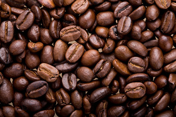 Coffee beans close-up bacground