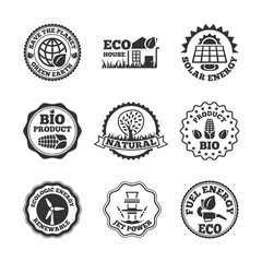 Printed roller blinds Retro Eco energy labels set