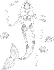Coloring with mermaid and fish