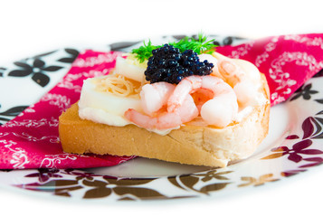 Fresh toast with caviar