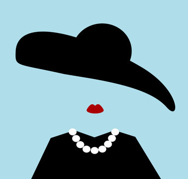 classy woman wearing floppy hat and pearls