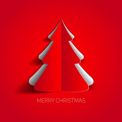 Vector Merry Christmas card with a red minimalistic tree made fr