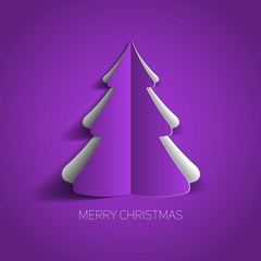 Vector Merry Christmas card with a purple minimalistic tree made