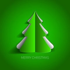 Vector Merry Christmas card with a green minimalistic tree made