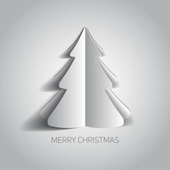 Vector Merry Christmas card with a white minimalistic tree made