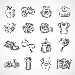 Fitness sketch icons set