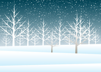 Holiday winter landscape background with winter tree