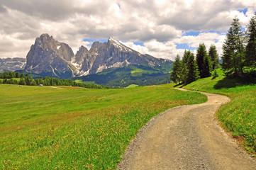 Winding road in Alps