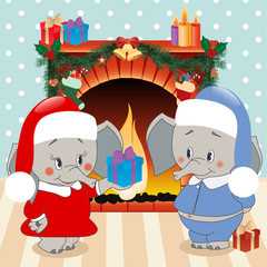 Elephant gives a gift. Christmas background , vector