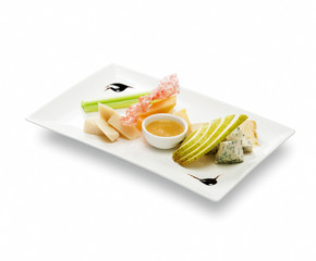 Cheese plate with fruit sauce (roquefort; gorgonzola; cambozola;