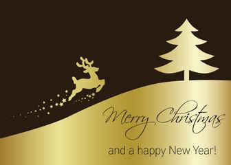 Vector Golden Christmas Tree with Reindeer