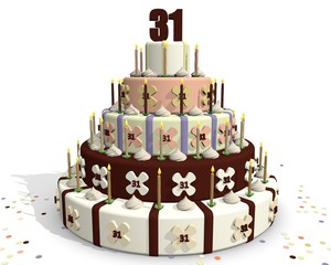 Feestelijke chocola taart met cijfer 31