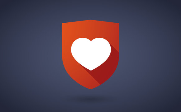 Long shadow shield icon with a heart