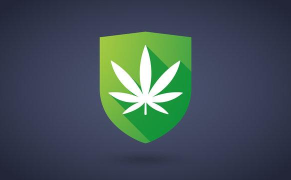 Long shadow shield icon with a marijuana leaf