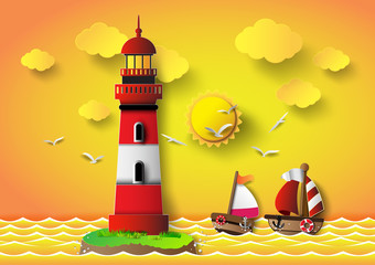 Vector illustration  lighthouse with seascape