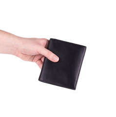 Leather wallet in man hand.