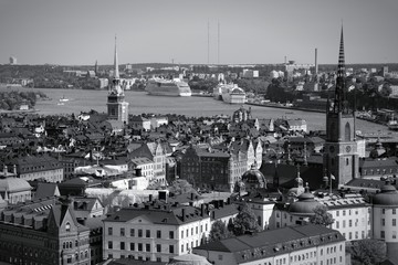 Stockholm old town. Black and white photo.