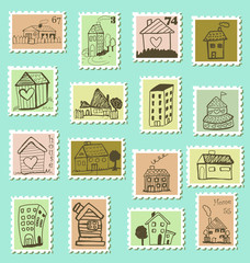 Set of cute postage stamps with houses