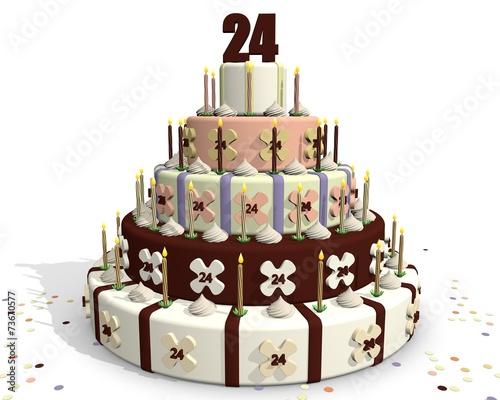 Taart Met Cijfer 24 Verjaardag Feest Stock Photo And Royalty