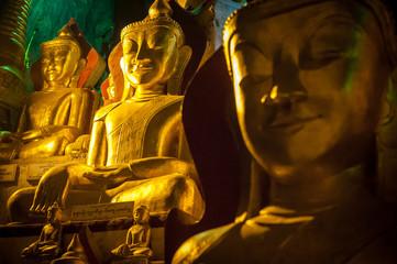 Buddha Statue inside Pindaya Cave in Myanmar - Burma